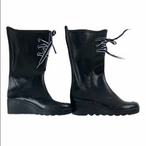 Sperry TopSider Lace Up Black Rain Boots 9